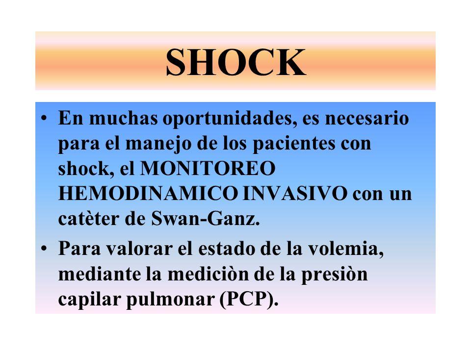 SHOCK En muchas oportunidades, es necesario para el manejo de los pacientes con shock, el MONITOREO HEMODINAMICO INVASIVO con un catèter de Swan-Ganz.