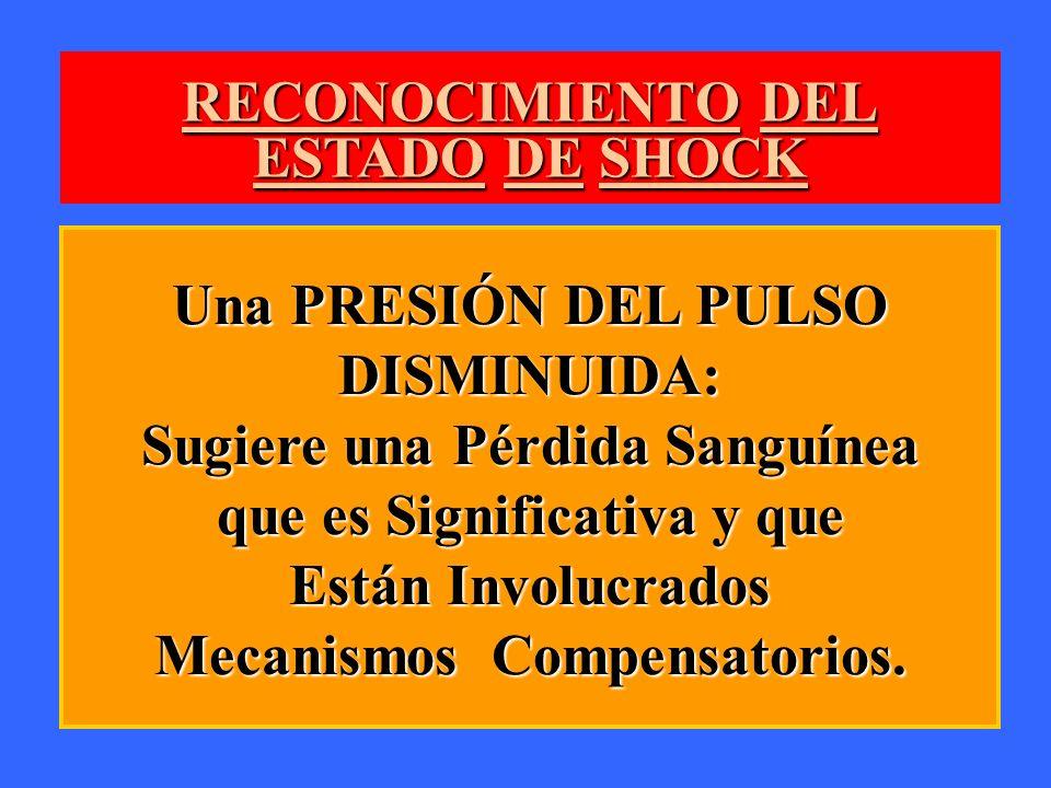 RECONOCIMIENTO DEL ESTADO DE SHOCK Una PRESIÓN DEL PULSO DISMINUIDA: Sugiere una Pérdida Sanguínea que es Significativa y que Están Involucrados Mecan