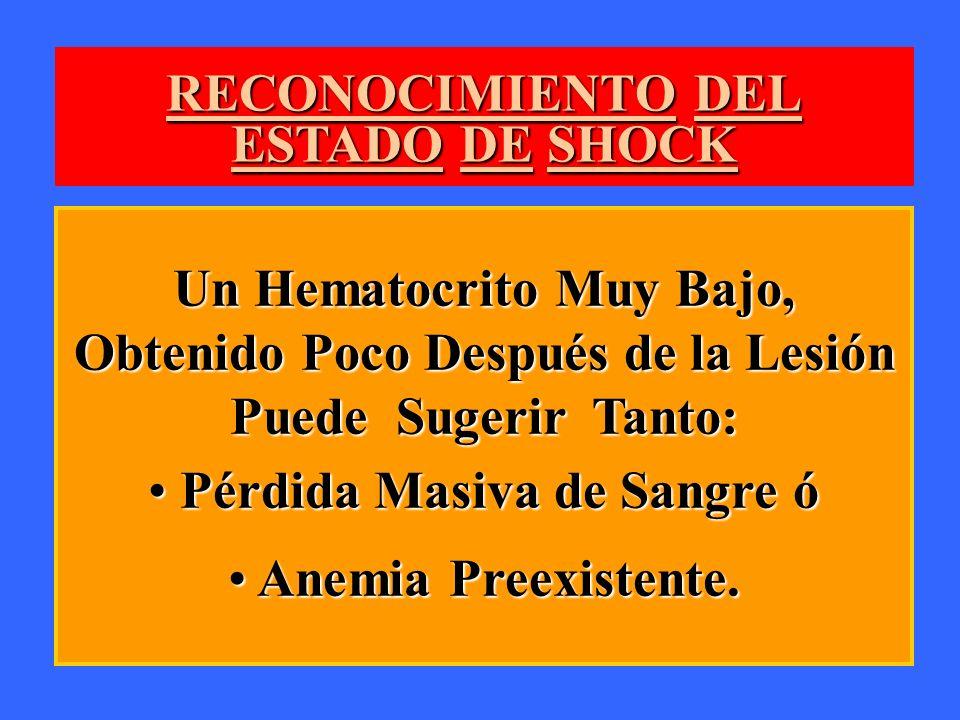 RECONOCIMIENTO DEL ESTADO DE SHOCK Un Hematocrito Muy Bajo, Obtenido Poco Después de la Lesión Puede Sugerir Tanto: Pérdida Masiva de Sangre ó Pérdida
