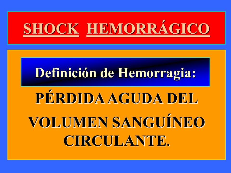 SHOCK HEMORRÁGICO PÉRDIDA AGUDA DEL VOLUMEN SANGUÍNEO CIRCULANTE. Definición de Hemorragia: