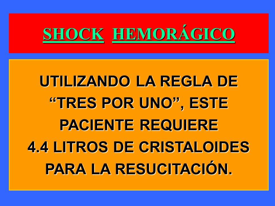 SHOCK HEMORÁGICO UTILIZANDO LA REGLA DE TRES POR UNO, ESTE PACIENTE REQUIERE 4.4 LITROS DE CRISTALOIDES PARA LA RESUCITACIÓN.