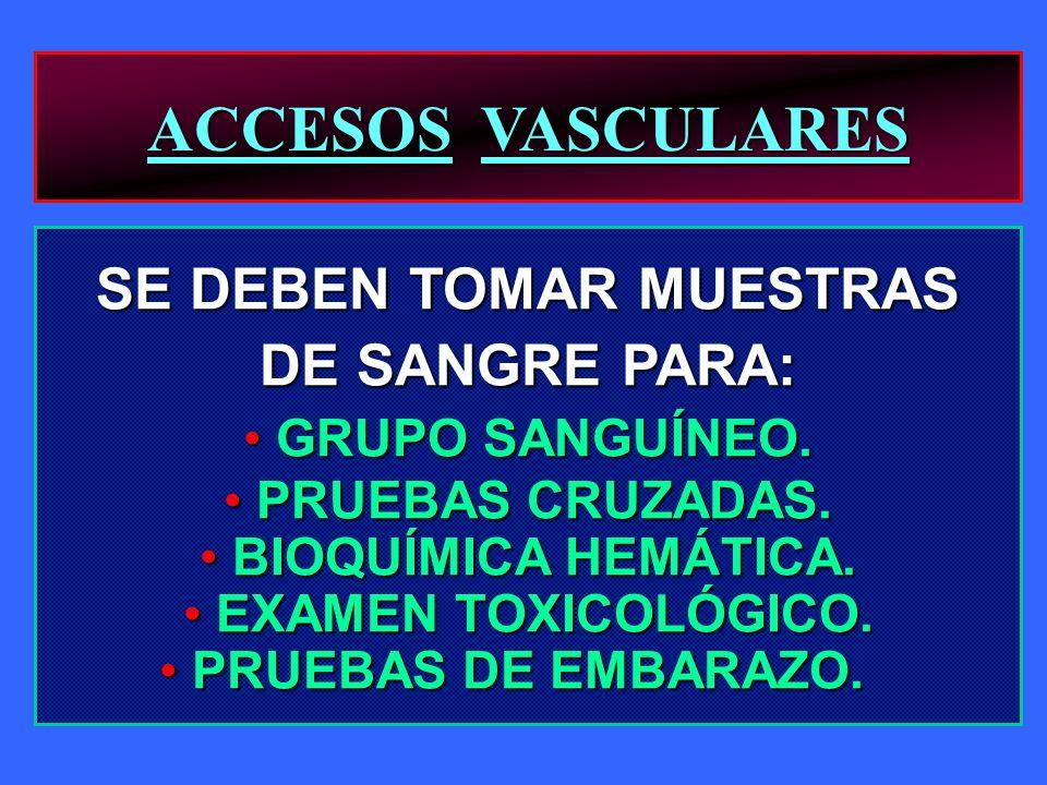 ACCESOS VASCULARES SE DEBEN TOMAR MUESTRAS DE SANGRE PARA: GRUPO SANGUÍNEO. GRUPO SANGUÍNEO. PRUEBAS CRUZADAS. PRUEBAS CRUZADAS. BIOQUÍMICA HEMÁTICA.