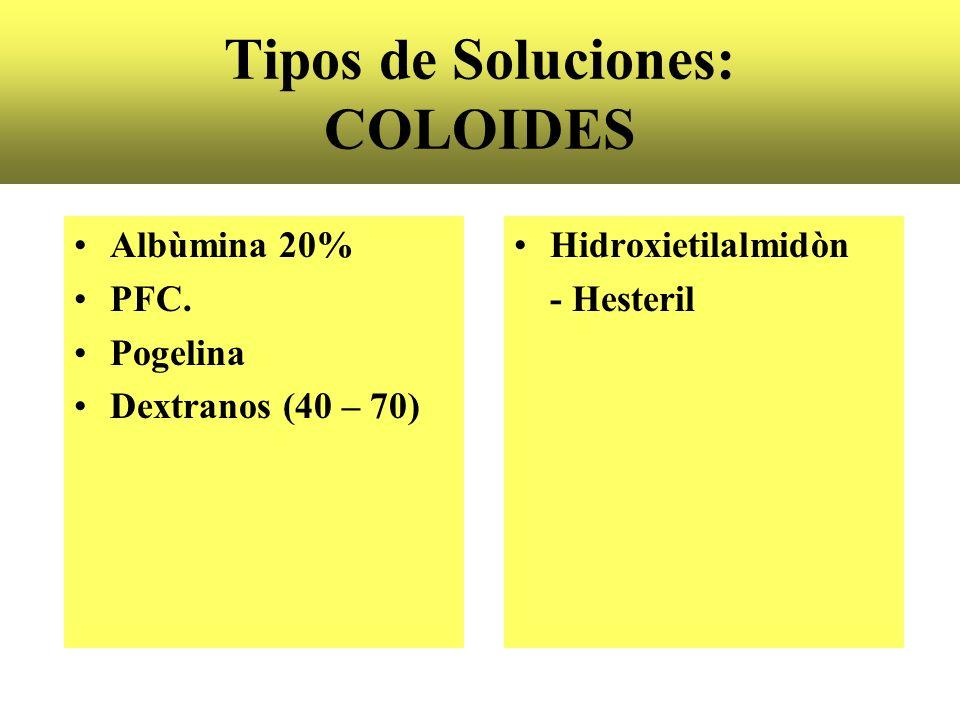 Tipos de Soluciones: COLOIDES Albùmina 20% PFC. Pogelina Dextranos (40 – 70) Hidroxietilalmidòn - Hesteril