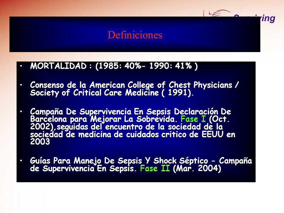 Definiciones MORTALIDAD : (1985: 40%- 1990: 41% )MORTALIDAD : (1985: 40%- 1990: 41% ) Consenso de la American College of Chest Physicians / Society of