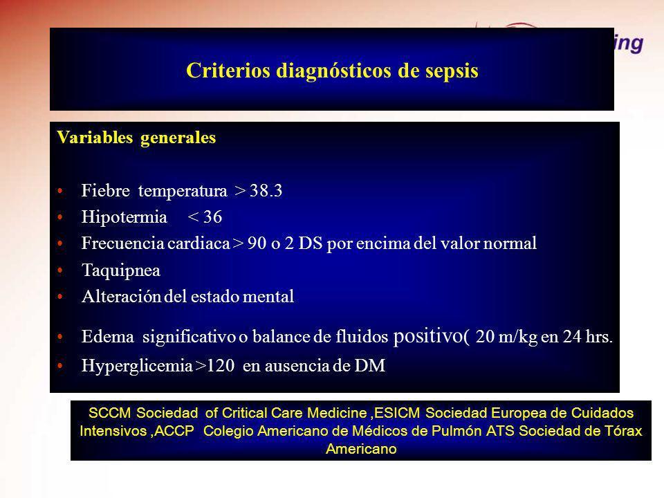 Criterios diagnósticos de sepsis Variables generales Fiebre temperatura > 38.3 Hipotermia < 36 Frecuencia cardiaca > 90 o 2 DS por encima del valor no