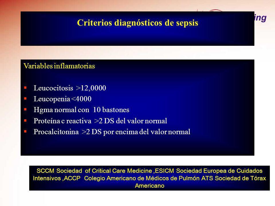 Criterios diagnósticos de sepsis Variables inflamatorias Leucocitosis >12,0000 Leucopenia <4000 Hgma normal con 10 bastones Proteína c reactiva >2 DS