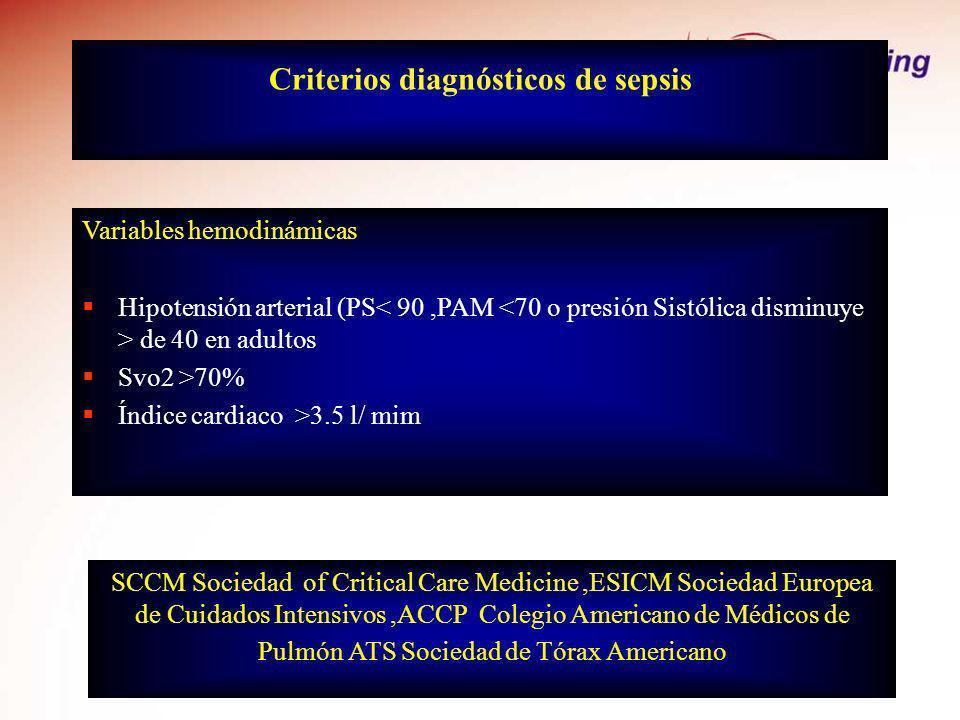 Criterios diagnósticos de sepsis Variables hemodinámicas Hipotensión arterial (PS de 40 en adultos Svo2 >70% Índice cardiaco >3.5 l/ mim SCCM Sociedad