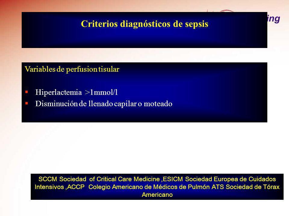 Criterios diagnósticos de sepsis Variables de perfusion tisular Hiperlactemia >1mmol/l Disminución de llenado capilar o moteado SCCM Sociedad of Criti