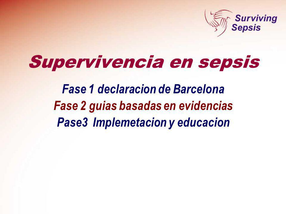 Fase 1 declaracion de Barcelona Fase 2 guias basadas en evidencias Pase3 Implemetacion y educacion Supervivencia en sepsis