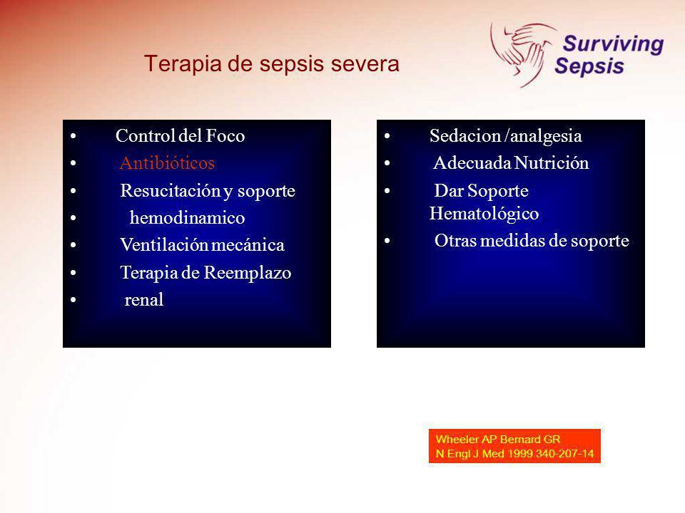 Wheeler AP Bernard GR N Engl J Med 1999 340-207-14 Control del Foco Antibióticos Resucitación y soporte hemodinamico Ventilación mecánica Terapia de R