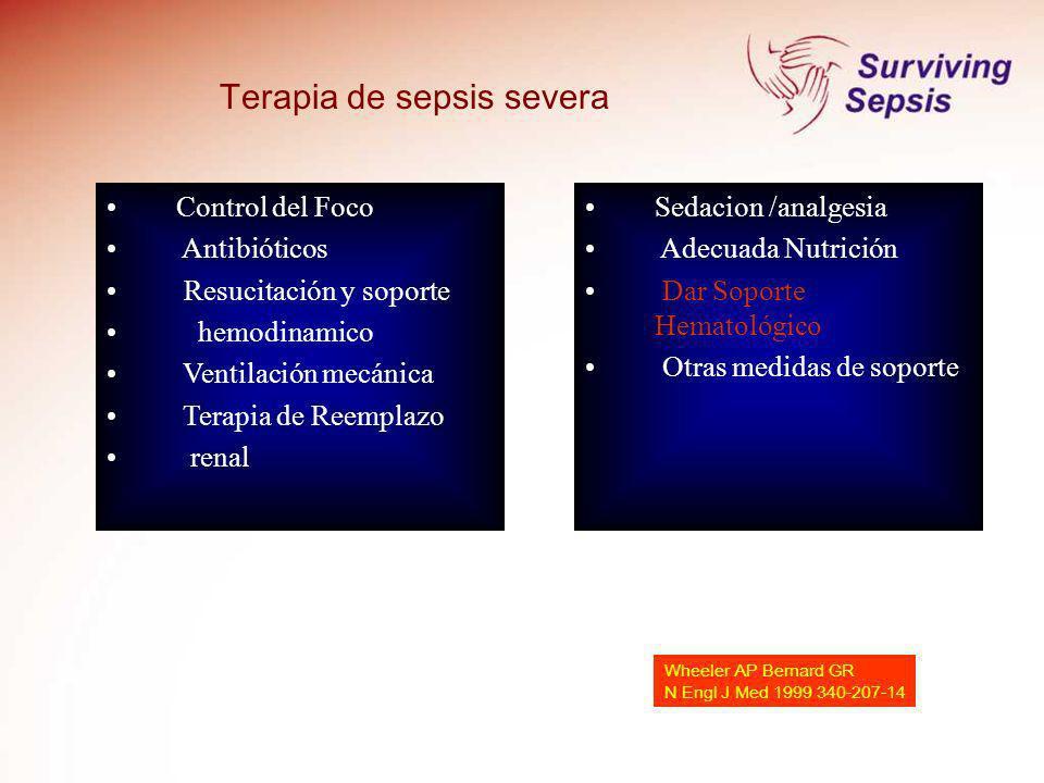 Control del Foco Antibióticos Resucitación y soporte hemodinamico Ventilación mecánica Terapia de Reemplazo renal Terapia de sepsis severa Sedacion /a