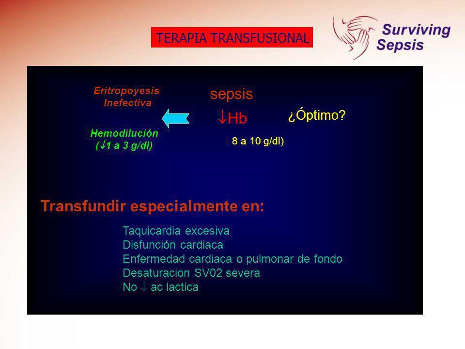 TERAPIA TRANSFUSIONAL Hb ¿Óptimo? Eritropoyesis Inefectiva Hemodilución ( 1 a 3 g/dl) sepsis ( 8 a 10 g/dl) Taquicardia excesiva Disfunción cardiaca E