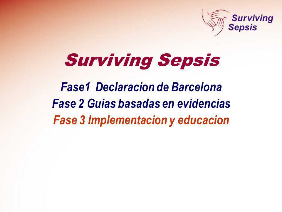 Fase1 Declaracion de Barcelona Fase 2 Guias basadas en evidencias Fase 3 Implementacion y educacion Surviving Sepsis