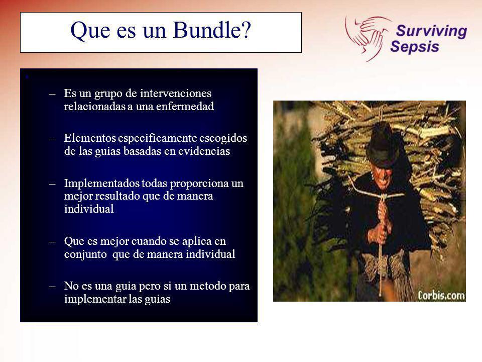 Que es un Bundle? –Es un grupo de intervenciones relacionadas a una enfermedad –Elementos especificamente escogidos de las guias basadas en evidencias