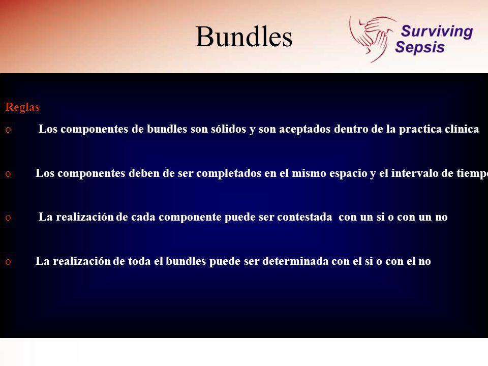 Bundles Reglas o Los componentes de bundles son sólidos y son aceptados dentro de la practica clínica o Los componentes deben de ser completados en el