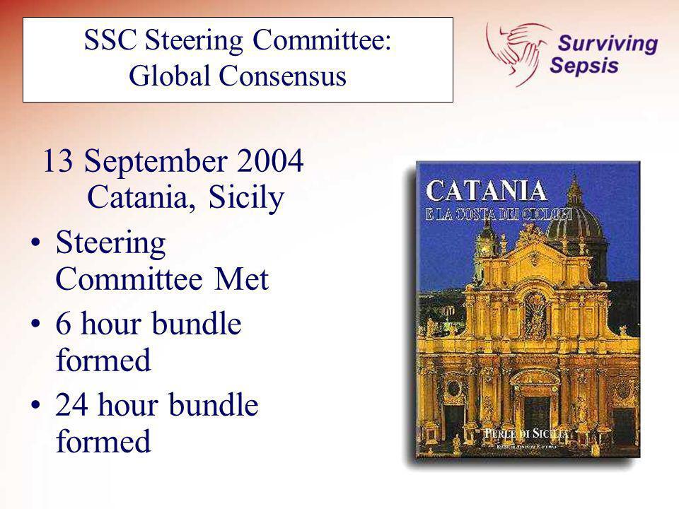 SSC Steering Committee: Global Consensus 13 September 2004 Catania, Sicily Steering Committee Met 6 hour bundle formed 24 hour bundle formed