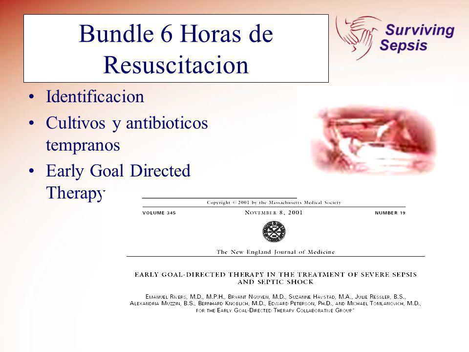 Bundle 6 Horas de Resuscitacion Identificacion Cultivos y antibioticos tempranos Early Goal Directed Therapy