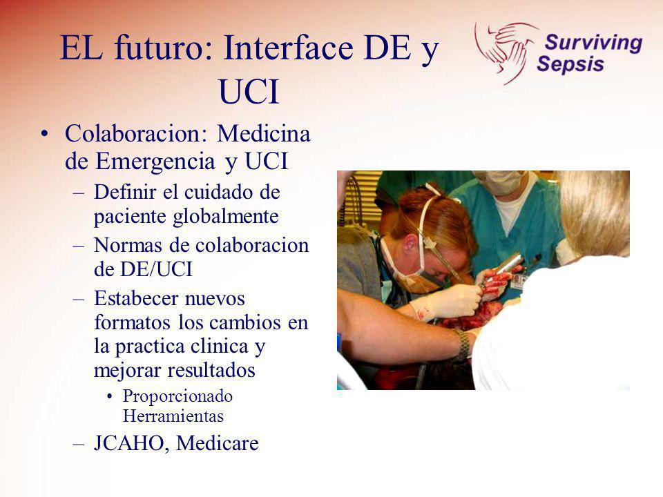 EL futuro: Interface DE y UCI Colaboracion: Medicina de Emergencia y UCI –Definir el cuidado de paciente globalmente –Normas de colaboracion de DE/UCI