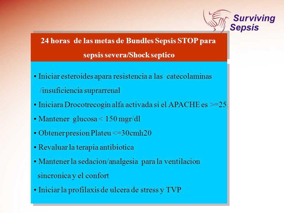 24 horas de las metas de Bundles Sepsis STOP para sepsis severa/Shock septico 24 horas de las metas de Bundles Sepsis STOP para sepsis severa/Shock se