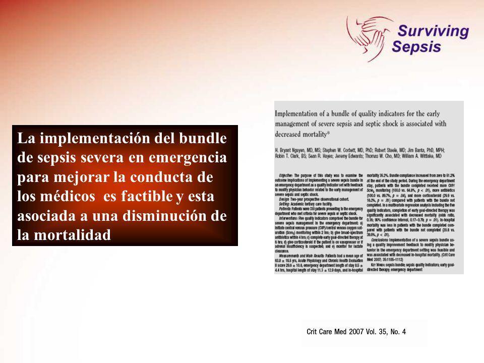 La implementación del bundle de sepsis severa en emergencia para mejorar la conducta de los médicos es factible y esta asociada a una disminución de l