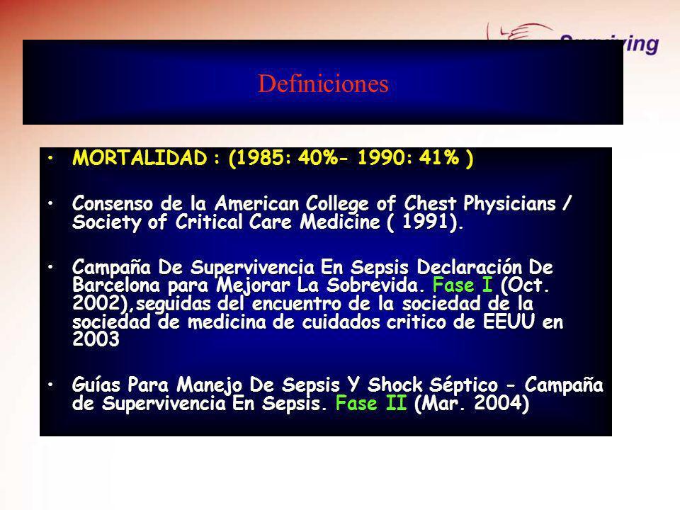 Definiciones SIRS + INFECCIÓN = SEPSIS BACTERIEMIA: gérmenes en la sangre SEPSIS SEVERA = sepsis + DOM SHOCK SEPTICO
