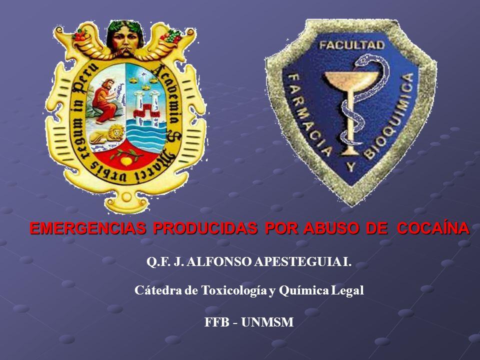 EMERGENCIAS PRODUCIDAS POR ABUSO DE COCAÍNA Q.F. J. ALFONSO APESTEGUIA I. Cátedra de Toxicología y Química Legal FFB - UNMSM