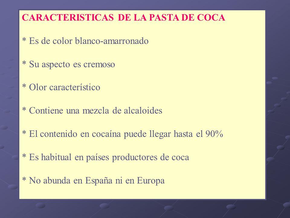 CARACTERISTICAS DE LA PASTA DE COCA * Es de color blanco-amarronado * Su aspecto es cremoso * Olor característico * Contiene una mezcla de alcaloides
