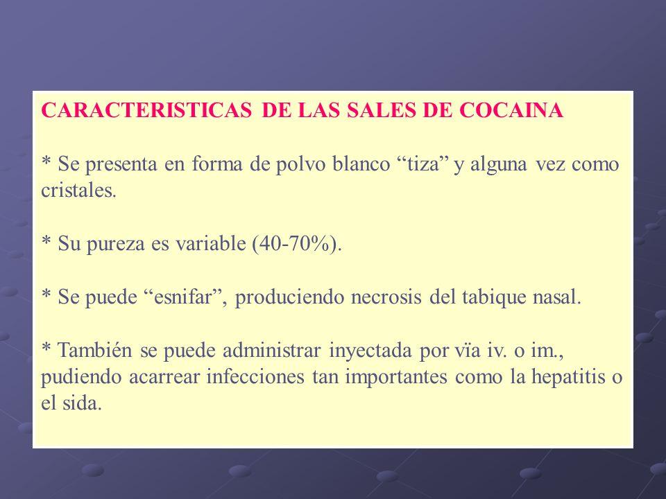 CARACTERISTICAS DE LAS SALES DE COCAINA * Se presenta en forma de polvo blanco tiza y alguna vez como cristales. * Su pureza es variable (40-70%). * S