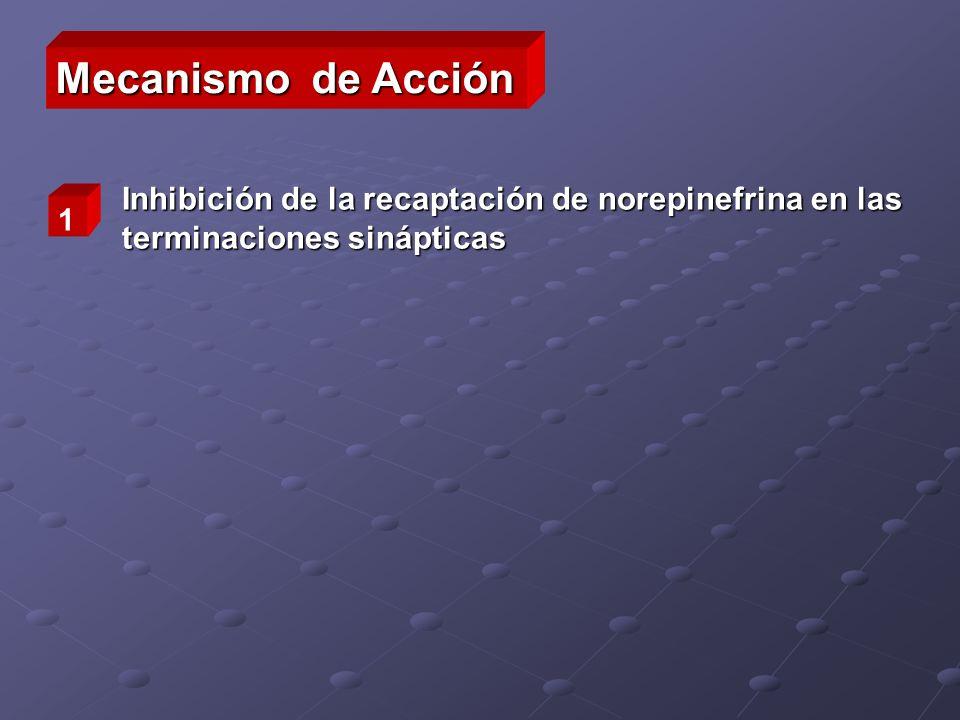 Inhibición de la recaptación de norepinefrina en las terminaciones sinápticas 1 Mecanismo de Acción