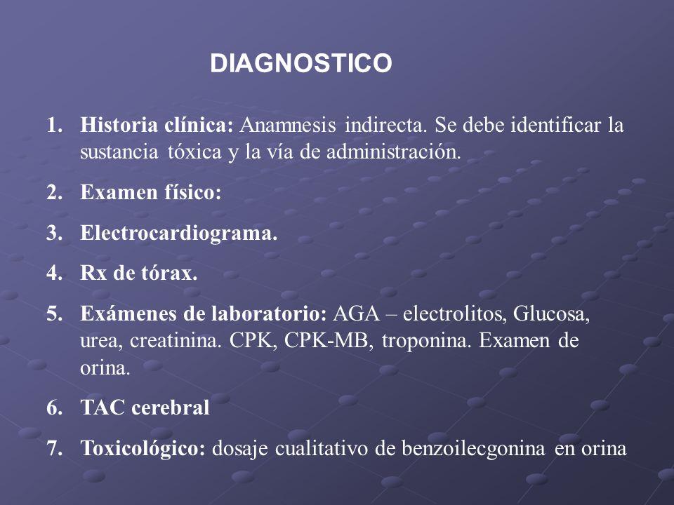 1.Historia clínica: Anamnesis indirecta. Se debe identificar la sustancia tóxica y la vía de administración. 2.Examen físico: 3.Electrocardiograma. 4.