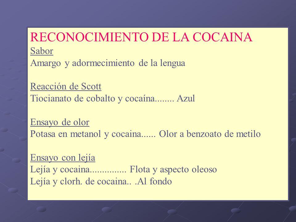 RECONOCIMIENTO DE LA COCAINA Sabor Amargo y adormecimiento de la lengua Reacción de Scott Tiocianato de cobalto y cocaína........ Azul Ensayo de olor