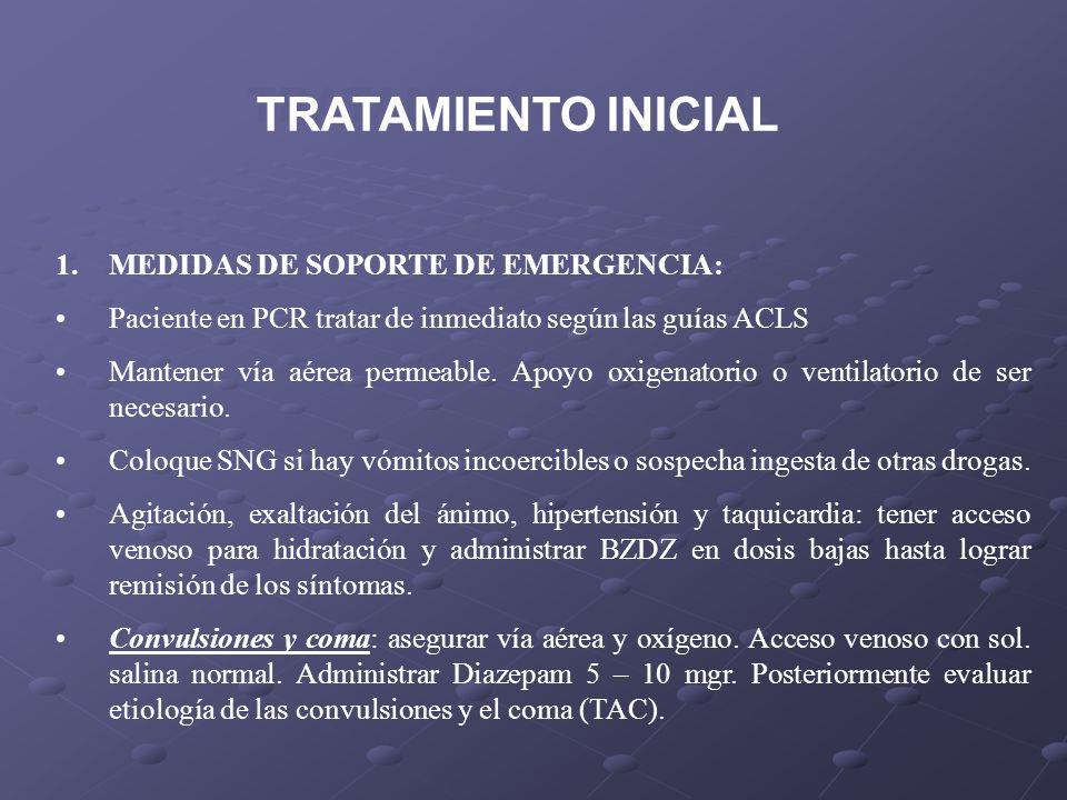 1.MEDIDAS DE SOPORTE DE EMERGENCIA: Paciente en PCR tratar de inmediato según las guías ACLS Mantener vía aérea permeable. Apoyo oxigenatorio o ventil