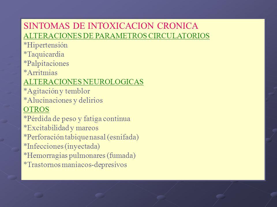 SINTOMAS DE INTOXICACION CRONICA ALTERACIONES DE PARAMETROS CIRCULATORIOS *Hipertensión *Taquicardia *Palpitaciones *Arritmias ALTERACIONES NEUROLOGIC