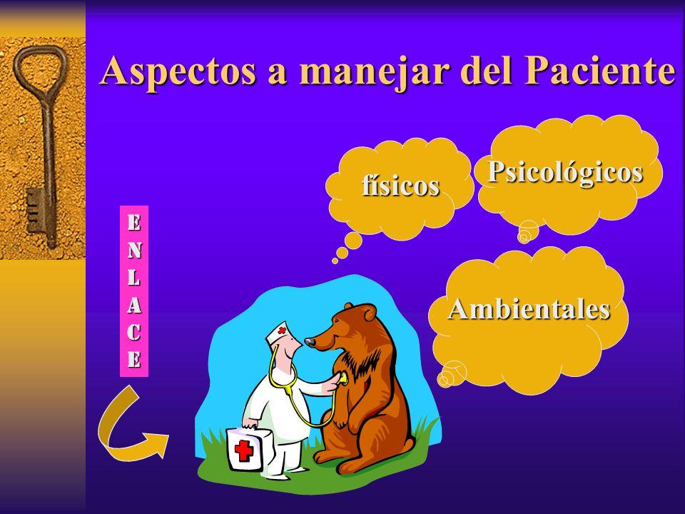 Aspectos a manejar del Paciente físicos Psicológicos Ambientales ENLACEENLACEENLACEENLACE