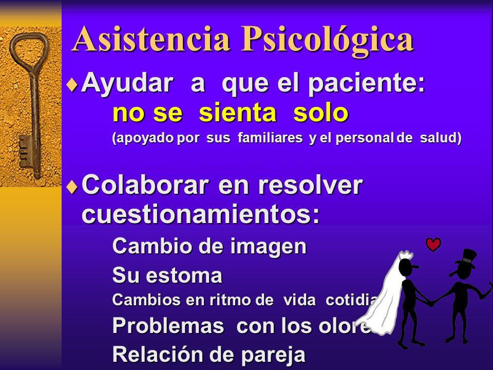 Asistencia Psicológica Ayudar a que el paciente: no se sienta solo Ayudar a que el paciente: no se sienta solo (apoyado por sus familiares y el person