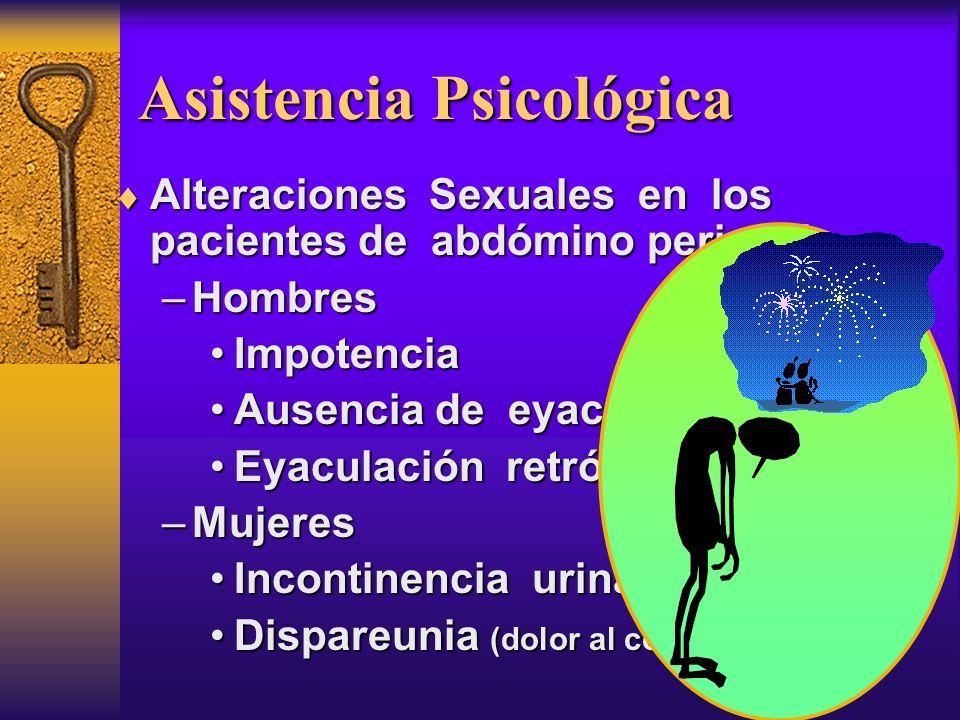 Asistencia Psicológica Alteraciones Sexuales en los pacientes de abdómino perineal: Alteraciones Sexuales en los pacientes de abdómino perineal: –Homb