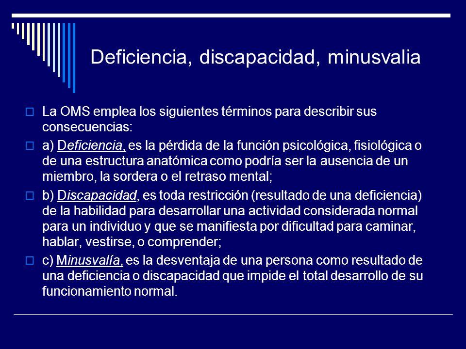 Deficiencia, discapacidad, minusvalia La OMS emplea los siguientes términos para describir sus consecuencias: a) Deficiencia, es la pérdida de la func
