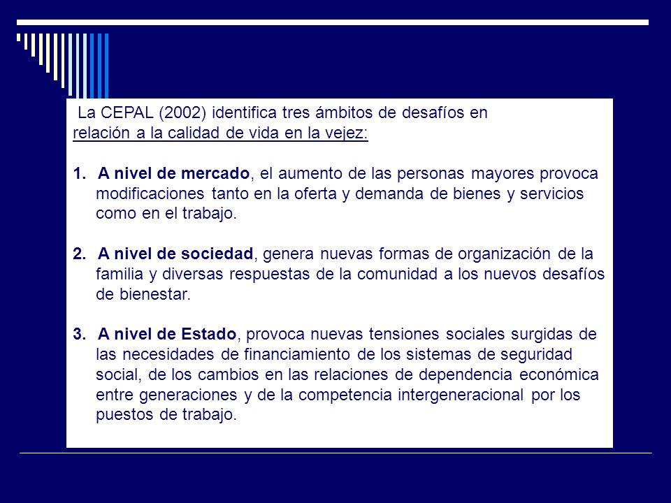 La CEPAL (2002) identifica tres ámbitos de desafíos en relación a la calidad de vida en la vejez: 1.A nivel de mercado, el aumento de las personas may