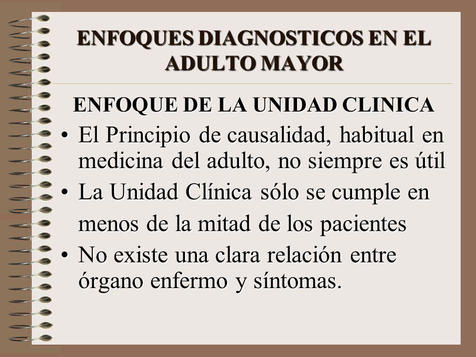 ENFOQUES DIAGNOSTICOS EN EL ADULTO MAYOR ENFOQUE DE LA UNIDAD CLINICA El Principio de causalidad, habitual en medicina del adulto, no siempre es útilE