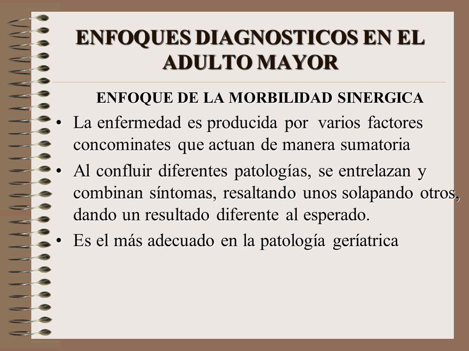 ENFOQUES DIAGNOSTICOS EN EL ADULTO MAYOR ENFOQUE DE LA MORBILIDAD SINERGICA La enfermedad es producida por varios factores concominates que actuan de