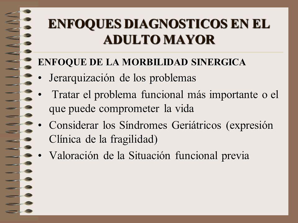 ENFOQUES DIAGNOSTICOS EN EL ADULTO MAYOR ENFOQUE DE LA MORBILIDAD SINERGICA Jerarquización de los problemasJerarquización de los problemas Tratar el p