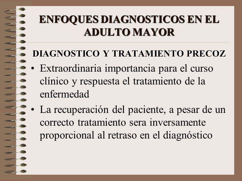 ENFOQUES DIAGNOSTICOS EN EL ADULTO MAYOR DIAGNOSTICO Y TRATAMIENTO PRECOZ Extraordinaria importancia para el curso clínico y respuesta el tratamiento