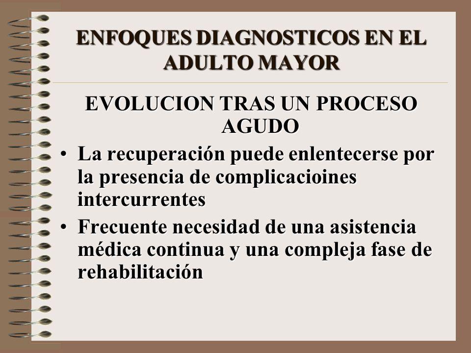 ENFOQUES DIAGNOSTICOS EN EL ADULTO MAYOR EVOLUCION TRAS UN PROCESO AGUDO La recuperación puede enlentecerse por la presencia de complicacioines interc