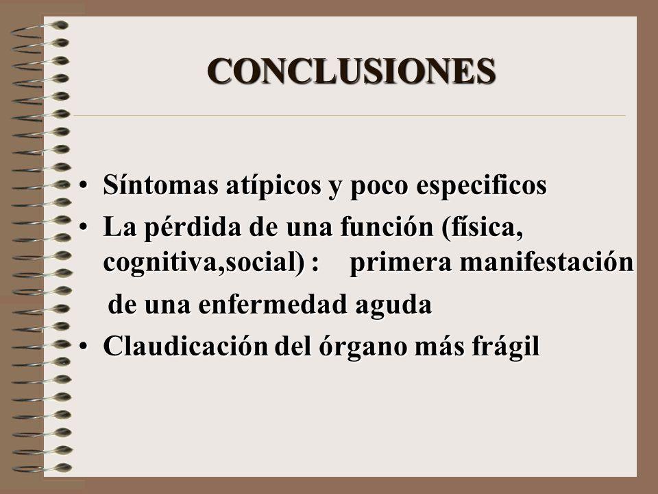 CONCLUSIONES Síntomas atípicos y poco especificosSíntomas atípicos y poco especificos La pérdida de una función (física, cognitiva,social) : primera m