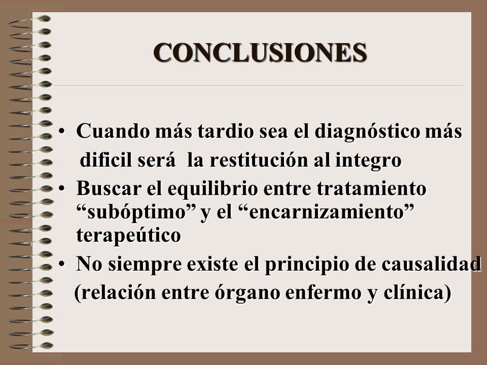 CONCLUSIONES Cuando más tardio sea el diagnóstico másCuando más tardio sea el diagnóstico más dificil será la restitución al integro dificil será la r
