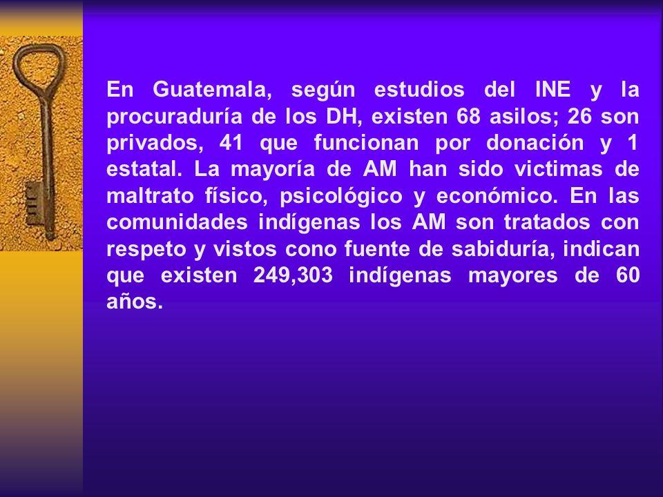 En Guatemala, según estudios del INE y la procuraduría de los DH, existen 68 asilos; 26 son privados, 41 que funcionan por donación y 1 estatal. La ma