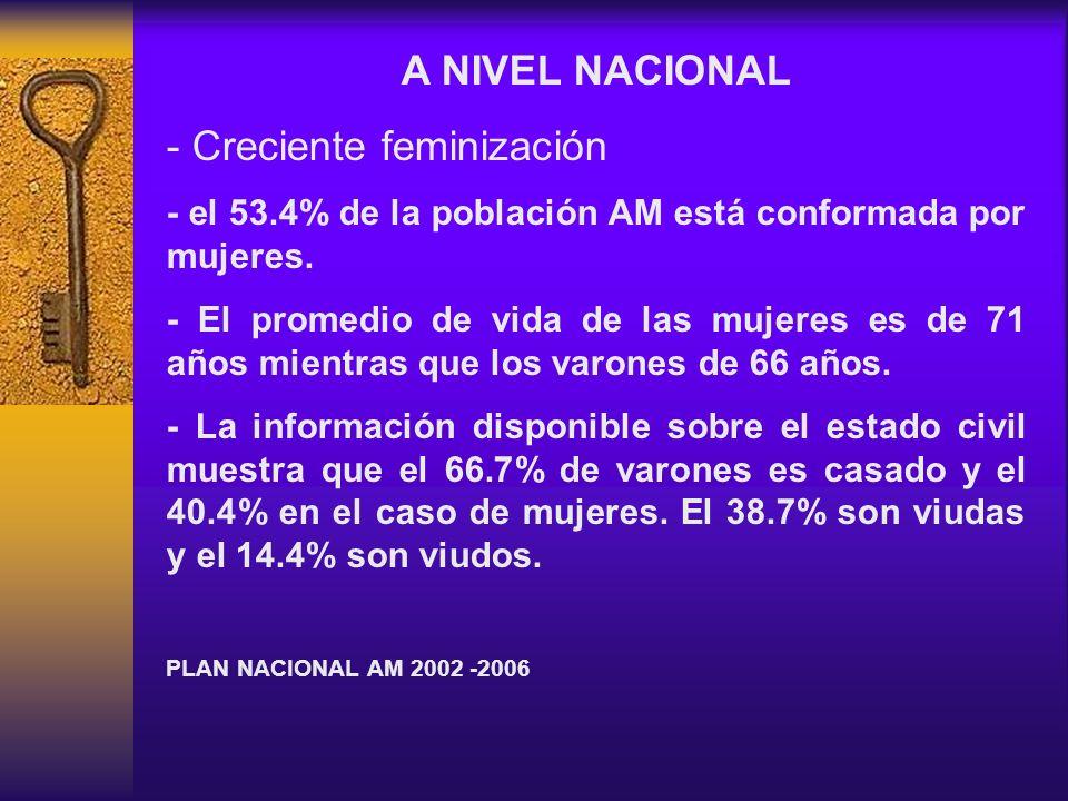 A NIVEL NACIONAL - Creciente feminización - el 53.4% de la población AM está conformada por mujeres. - El promedio de vida de las mujeres es de 71 año