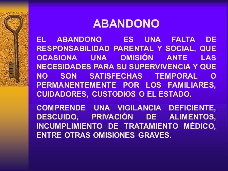INDICADORES DE ABANDONO - DESNUTRICIÓN - FALTA DE HIGIENE PERSONAL - VIVEN EN LA CALLE - ABANDONO EN HOSPITALES - AM INSTITUCIONALIZADOS - ULCERAS POR PRESIÓN
