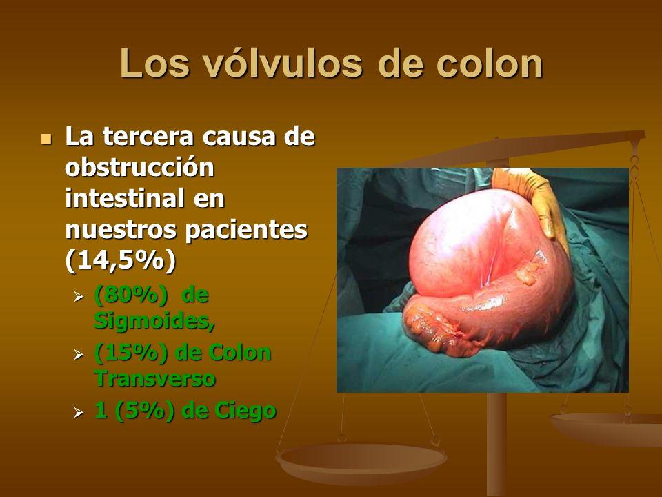 Los vólvulos de colon La tercera causa de obstrucción intestinal en nuestros pacientes (14,5%) La tercera causa de obstrucción intestinal en nuestros