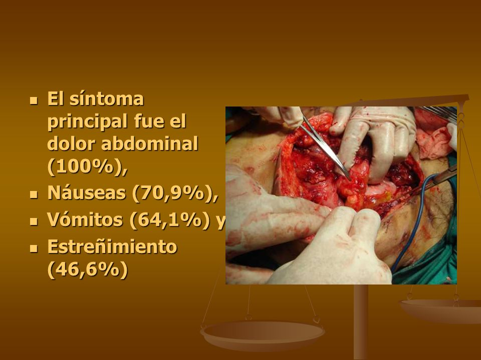El síntoma principal fue el dolor abdominal (100%), El síntoma principal fue el dolor abdominal (100%), Náuseas (70,9%), Náuseas (70,9%), Vómitos (64,